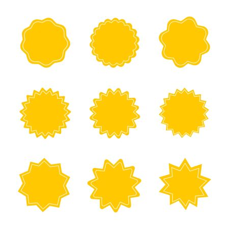 Set of yellow starburst stamps on white background.