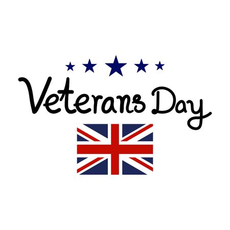 Happy Veterans Day with USA flag on white background. vector illustration