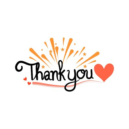 Thank you hand drawn on white background. vector illustration 일러스트