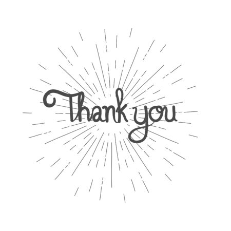 Thank you hand drawn with sunburst on white background. vector illustration