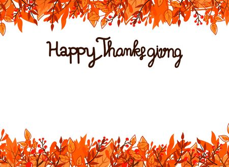 Happy Thanksgiving Day card with leafs. vector illustration
