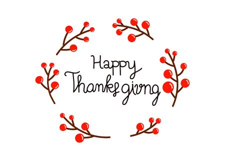 Happy Thanksgiving Day on white background. vector illustration
