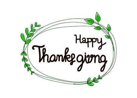 Happy Thanksgiving Day with leafs on white background. vector illustration