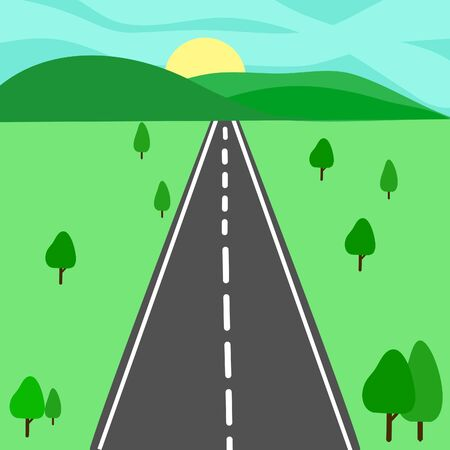 Winding road cartoon background with mountains landscape. 일러스트