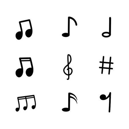 Set of music note icon on white background. Ilustração