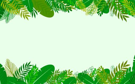Jungle tropical cartoon background. vector illustration.