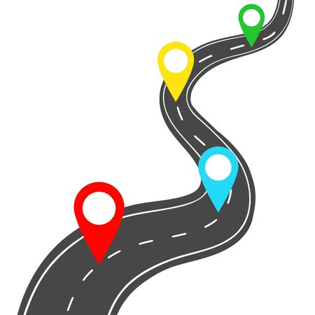 Winding road with pin pointer on white background. 일러스트