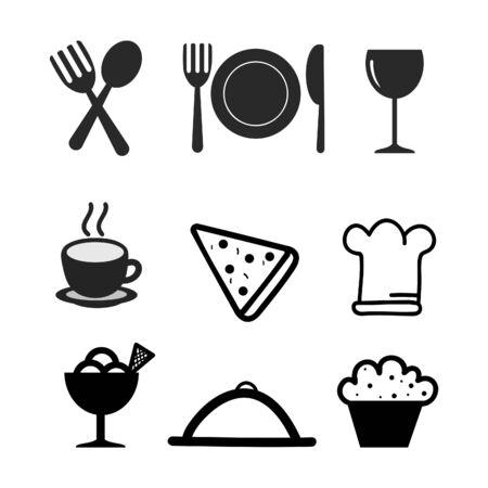 Food icon set on white background. Vektoros illusztráció
