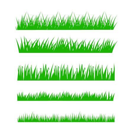 Conjunto de hierba verde sobre fondo blanco. Ilustración vectorial.