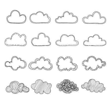 Set of cloud hand drawn on white background