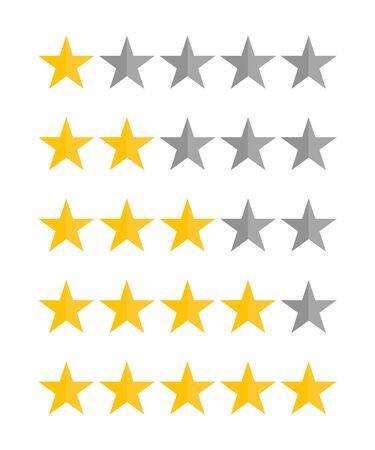 Vijf sterren rating vectorillustratie. Vector Illustratie