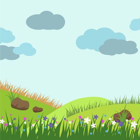 Nature landscape vector illustration cartoon style. Banco de Imagens - 138088391