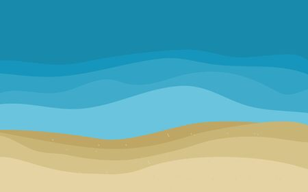 Vector cartoon style Sandy beach. Sea. Ocean surf