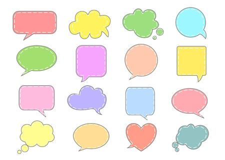 Colorful Speech bubble icon on white background.