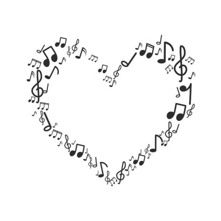 Heart Music note design on white background.