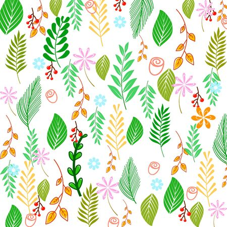 Colorful spring background with beautiful flowers. Illustration
