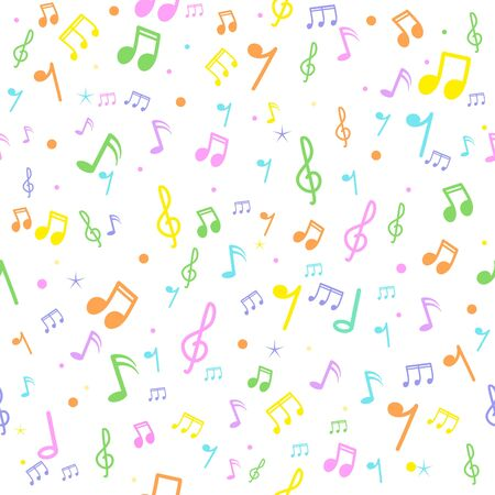 Music note seamless pattern on white background.