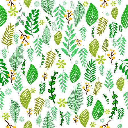 Motif floral de vecteur dans le style doodle avec des fleurs et des feuilles. Vecteurs