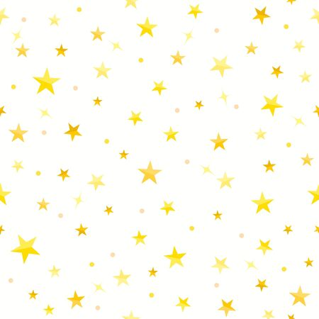 Gold star Seamless pattern on white background. Ilustrace
