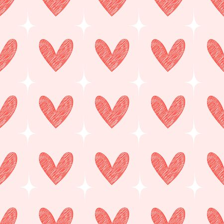 Red Hearts hand drawn seamless pattern background. Ilustração