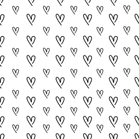 Black Hearts hand drawn seamless pattern background.