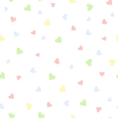 Colorful Hearts hand drawn seamless pattern background.