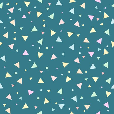 Colorful Confetti and Hearts hand drawn seamless pattern background. Ilustração