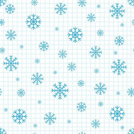 Christmas seamless pattern of snowflakes on white background.