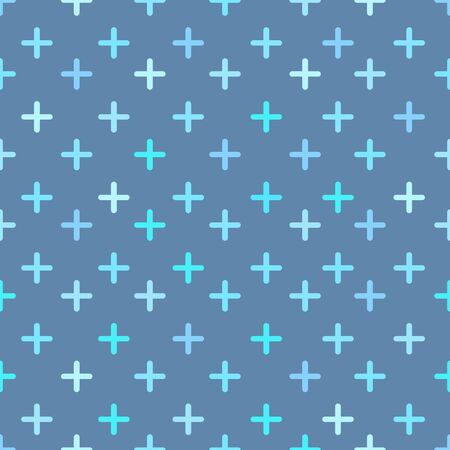 Plus seamless pattern on blue background.