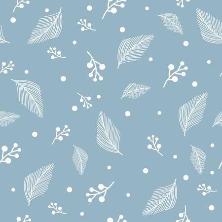 Vector floral pattern in doodle style with leaves.