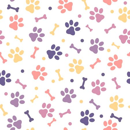 Colorful Paw print seamless pattern on white background.