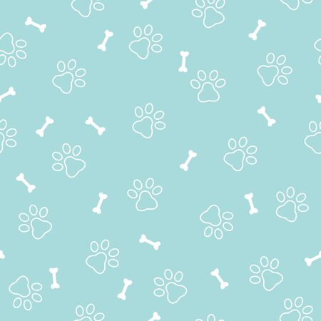 Paw print seamless pattern on blue background.