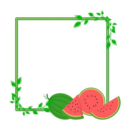 whole and cut watermelon background with leaves. Illustration