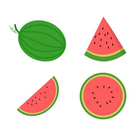 Set of whole and cut watermelon on white background.