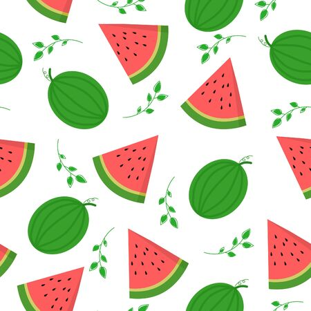 Watermelon seamless pattern on white background.
