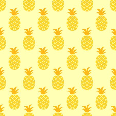 Pineapple seamless pattern on yellow background.