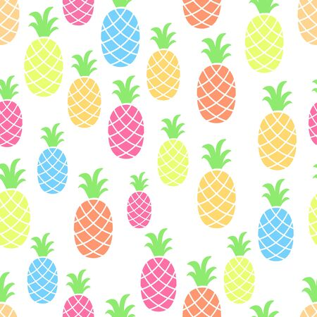 Pineapple seamless pattern on white background.