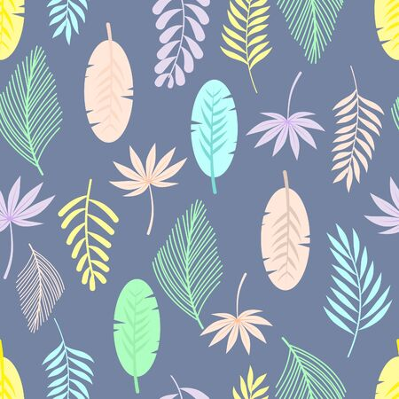 Leaves seamless pattern on blue background.