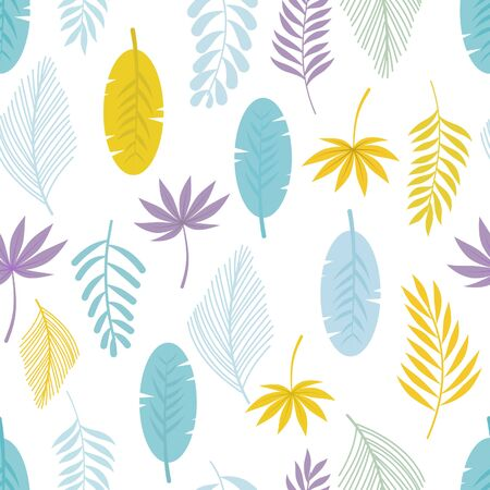 Leaves seamless pattern on white background.