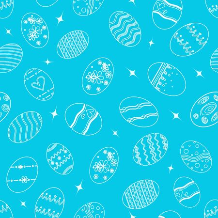 Happy Easter seamless pattern on blue background.