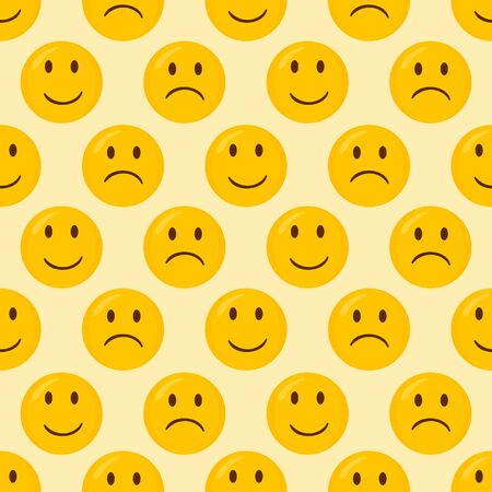 Happy and Unhappy seamless pattern background.