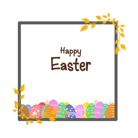 Colorful Easter eggs banner background.