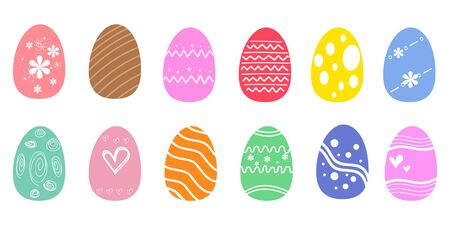 Set of colorful Easter eggs on white background. Illustration