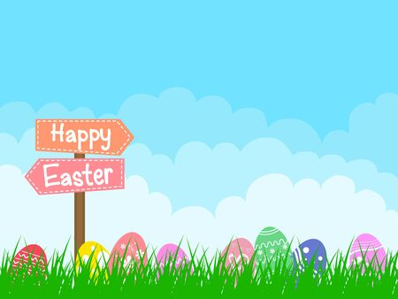 Colorful Easter eggs background with leaves and cloud.