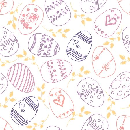 Colorful easter eggs seamless pattern background. Illustration