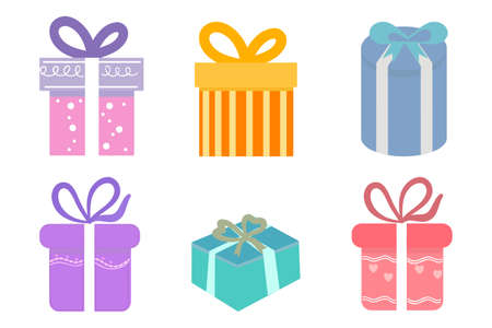 Set of colorful gift box on white background.