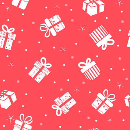 Gift box seamless pattern on red background. Illustration