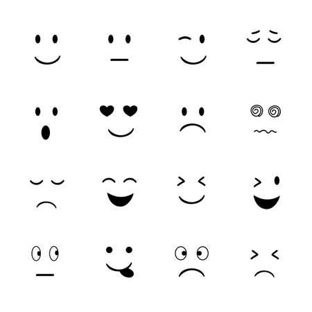 Set of Emoji icon  on white background.