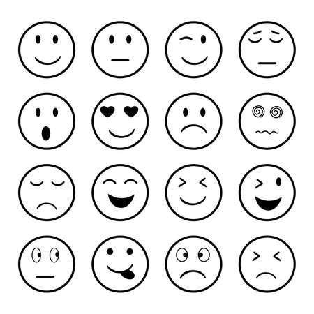 Set of Emoji icon on white background. Ilustración de vector