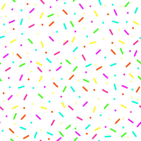 colorful confetti seamless pattern on white background.